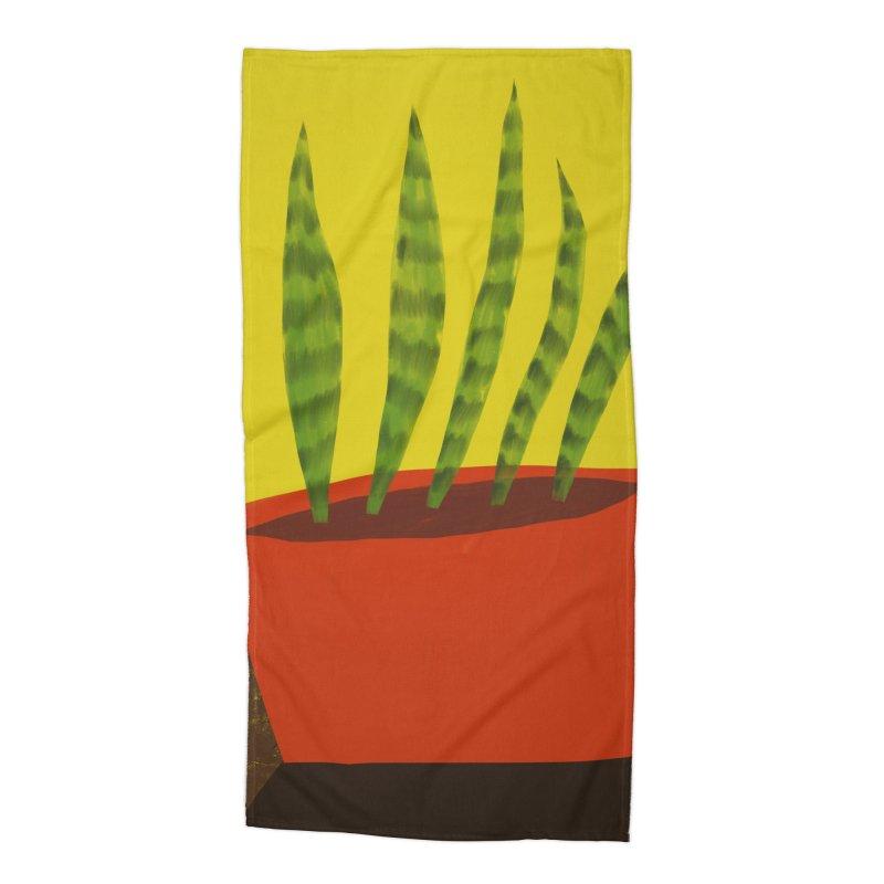 Snake Plant in Red Pot Accessories Beach Towel by Michael Pfleghaar