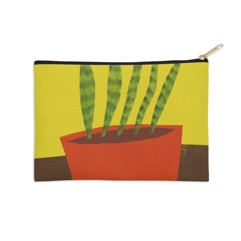 Snake Plant in Red Pot Accessories Zip Pouch by Michael Pfleghaar