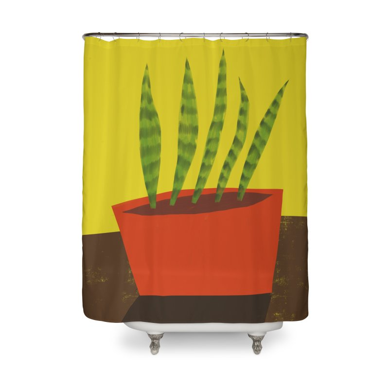 Snake Plant in Red Pot Home Shower Curtain by Michael Pfleghaar