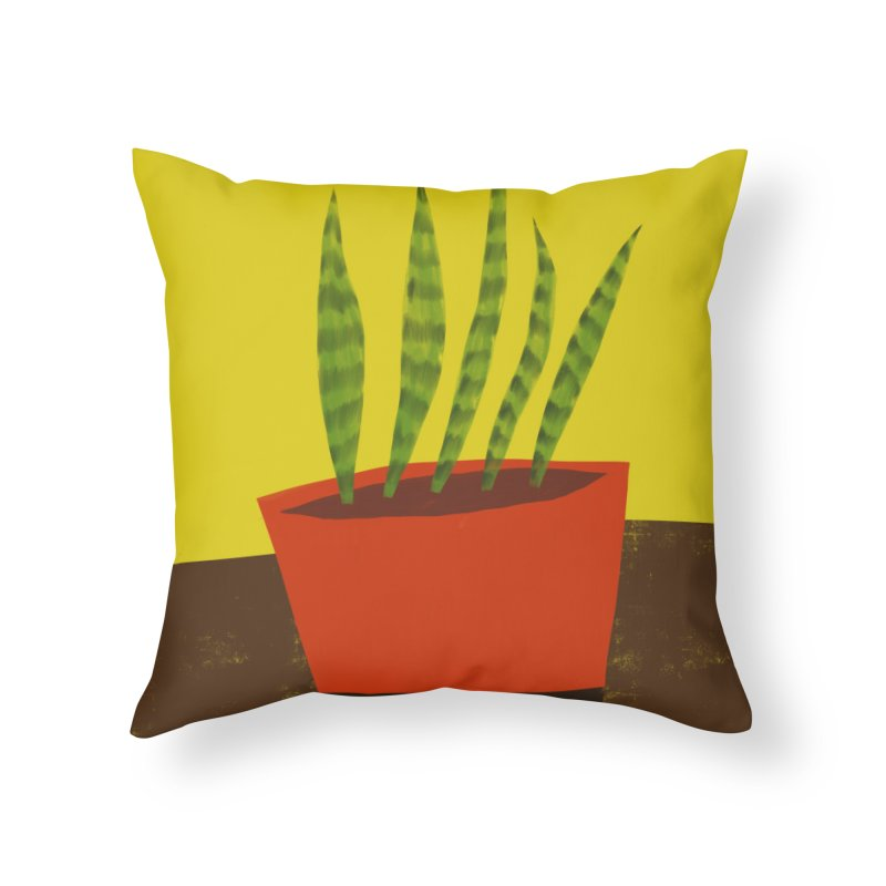 Snake Plant in Red Pot Home Throw Pillow by Michael Pfleghaar