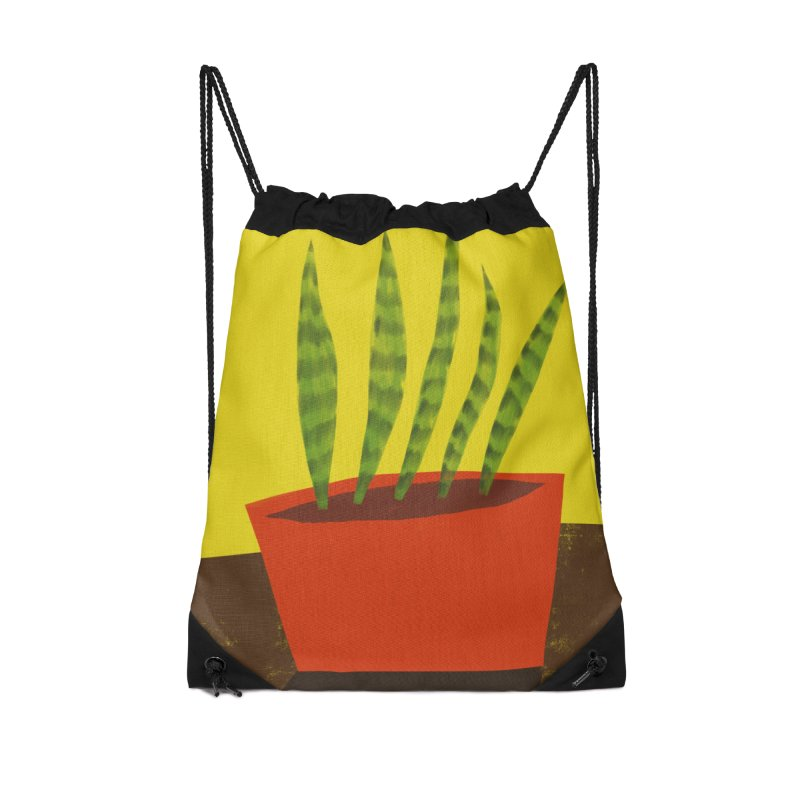 Snake Plant in Red Pot Accessories Drawstring Bag Bag by Michael Pfleghaar