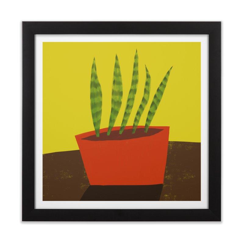Snake Plant in Red Pot Home Framed Fine Art Print by Michael Pfleghaar