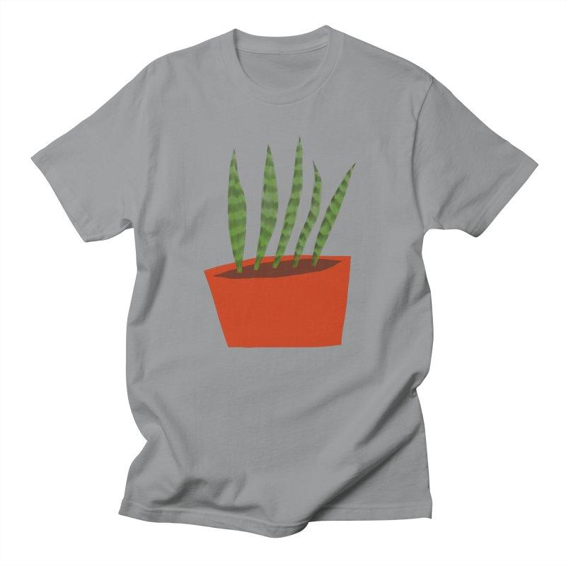 Snake Plant in Red Pot Men's Regular T-Shirt by Michael Pfleghaar