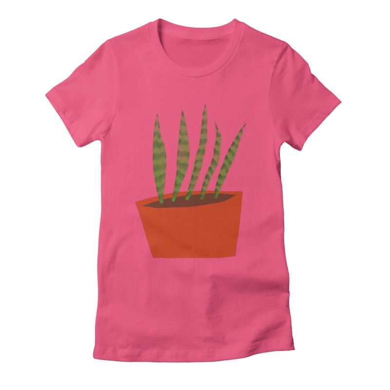 Snake Plant in Red Pot Women's Fitted T-Shirt by Michael Pfleghaar