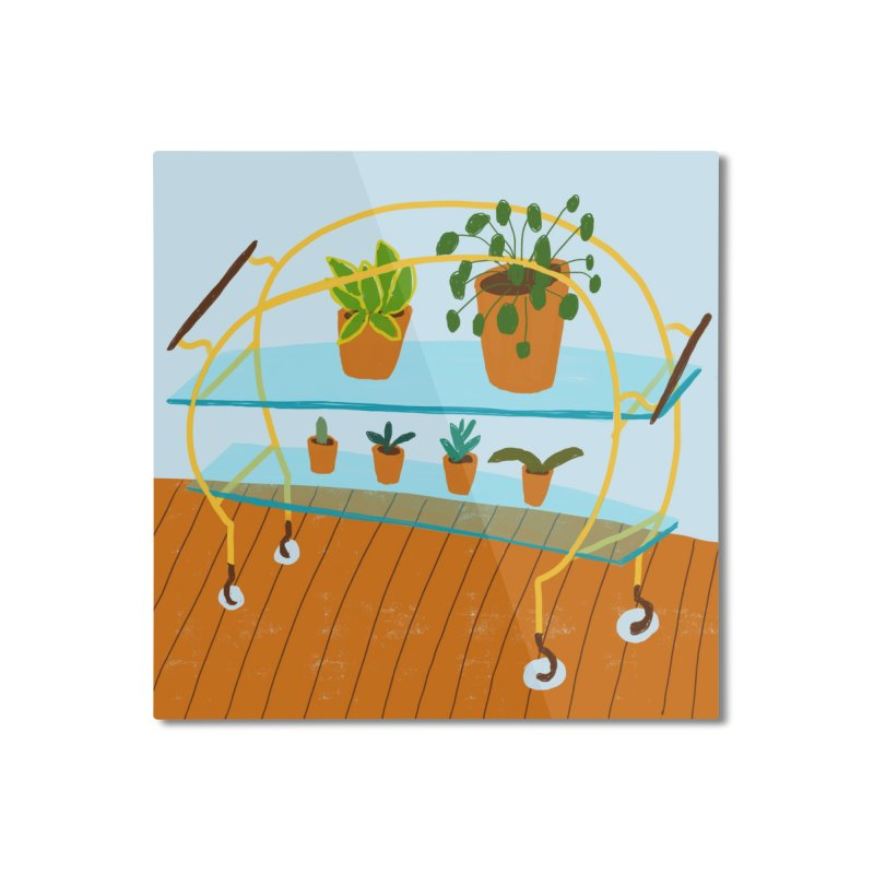 Brass and Glass Plant Stand 2 Home Mounted Aluminum Print by Michael Pfleghaar
