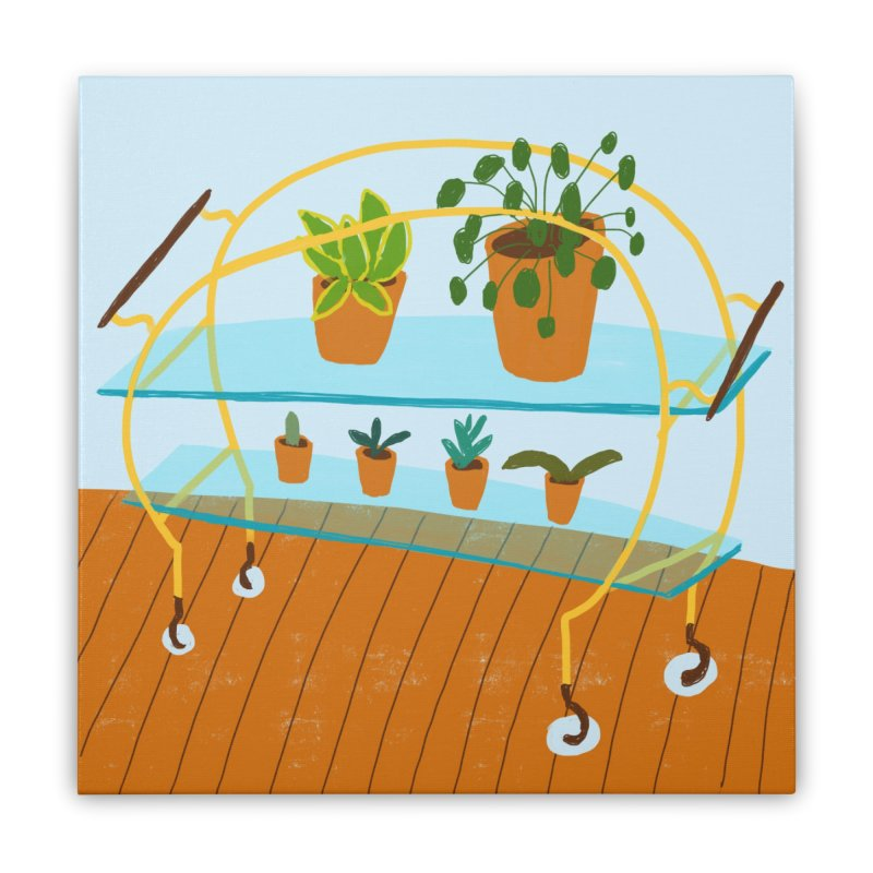 Brass and Glass Plant Stand 2 Home Stretched Canvas by Michael Pfleghaar