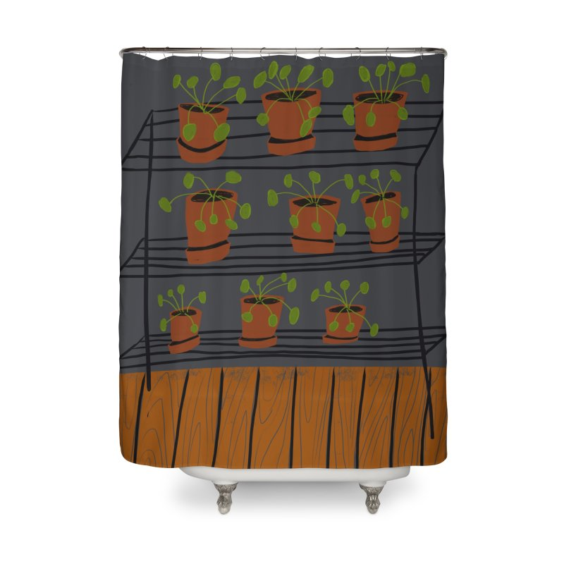 Pilea on Plant Stand Home Shower Curtain by Michael Pfleghaar