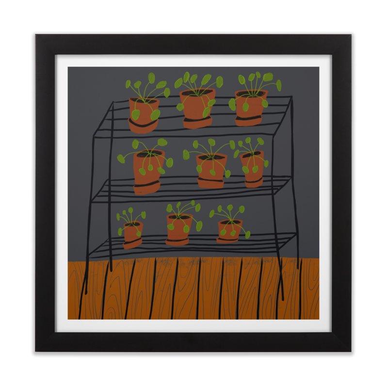 Pilea on Plant Stand in Framed Fine Art Print Black by Michael Pfleghaar