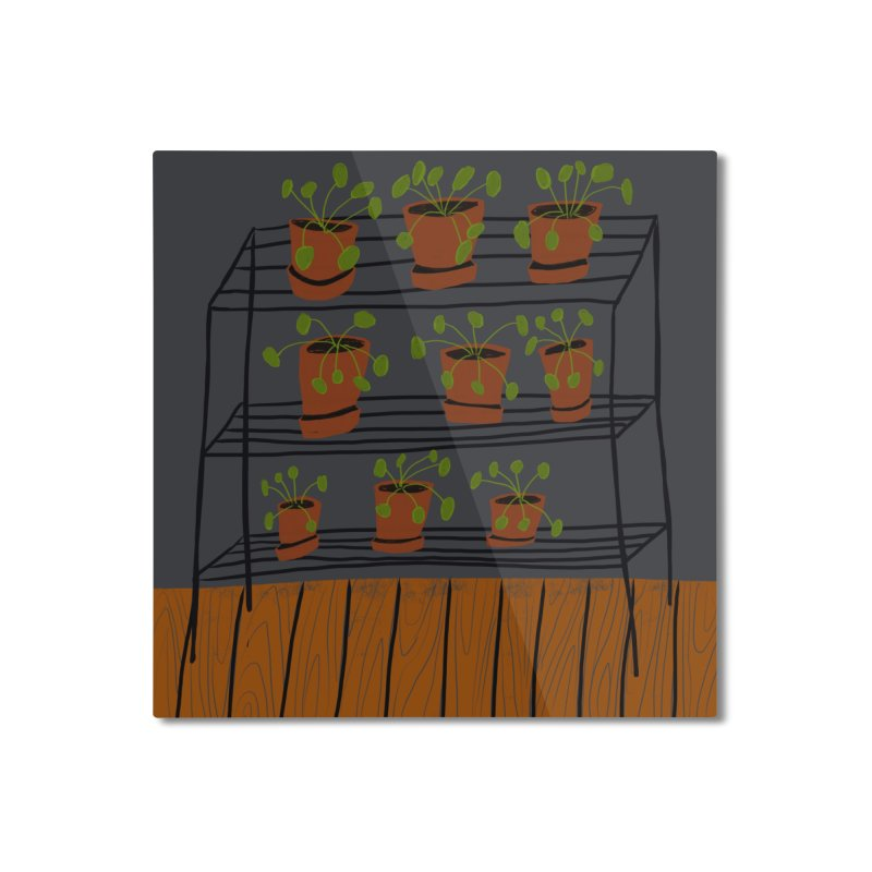 Pilea on Plant Stand Home Mounted Aluminum Print by Michael Pfleghaar