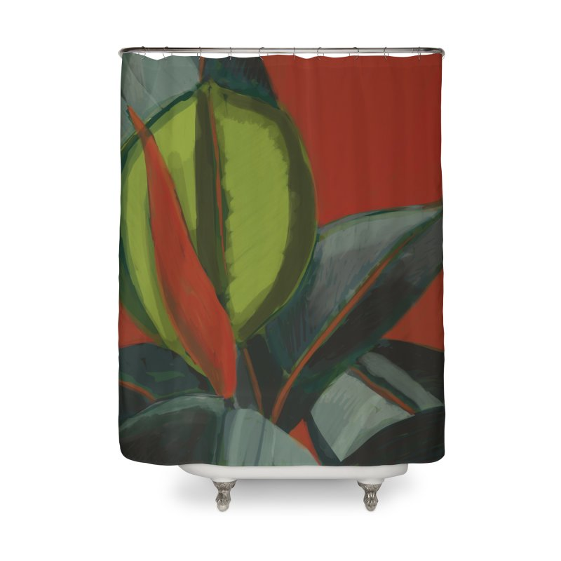 Rubber Plant on Red Home Shower Curtain by Michael Pfleghaar