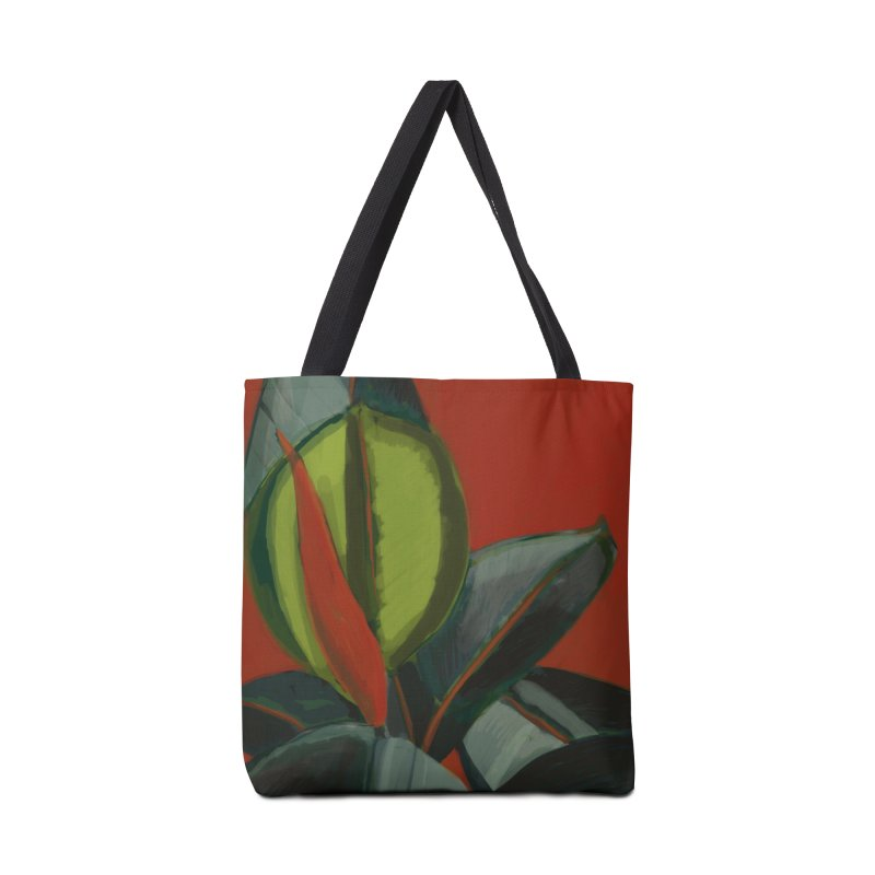 Rubber Plant on Red Accessories Bag by Michael Pfleghaar