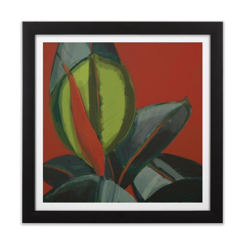 Rubber Plant on Red in Framed Fine Art Print Black by Michael Pfleghaar