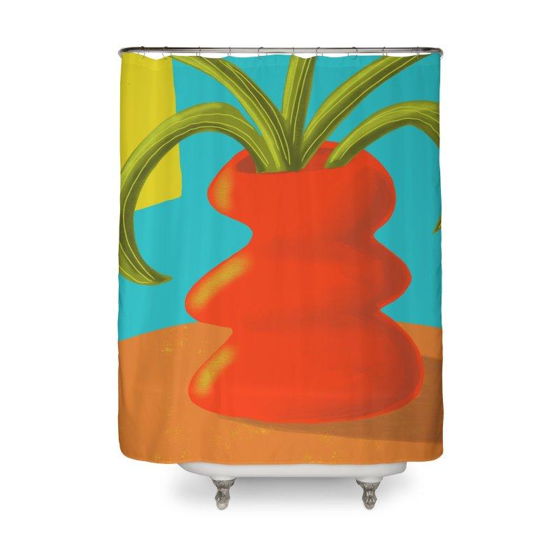 Red Vase Home Shower Curtain by Michael Pfleghaar