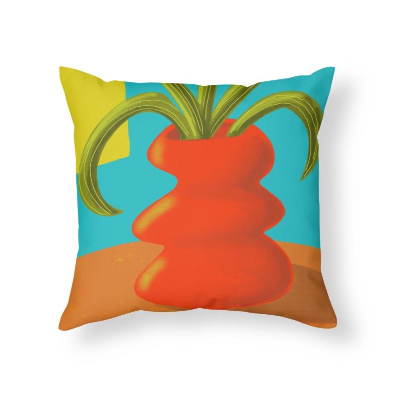 Red Vase in Throw Pillow by Michael Pfleghaar