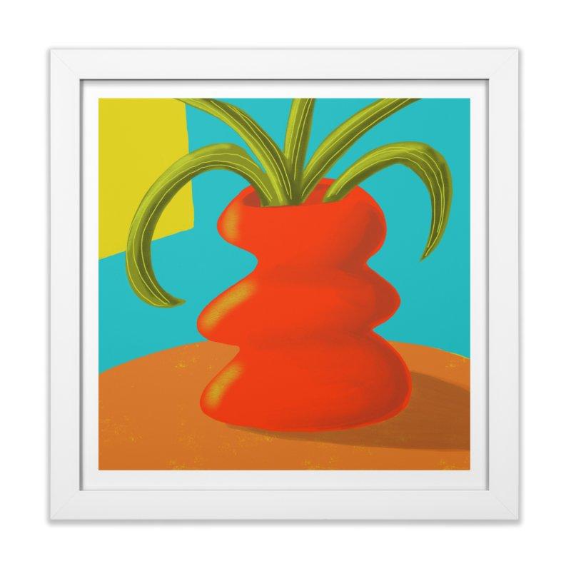 Red Vase in Framed Fine Art Print White by Michael Pfleghaar