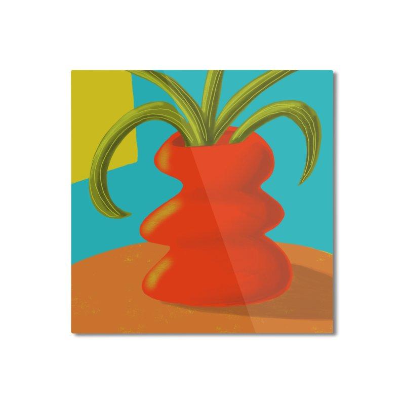 Red Vase Home Mounted Aluminum Print by Michael Pfleghaar