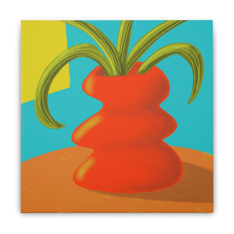 Red Vase Home Stretched Canvas by Michael Pfleghaar