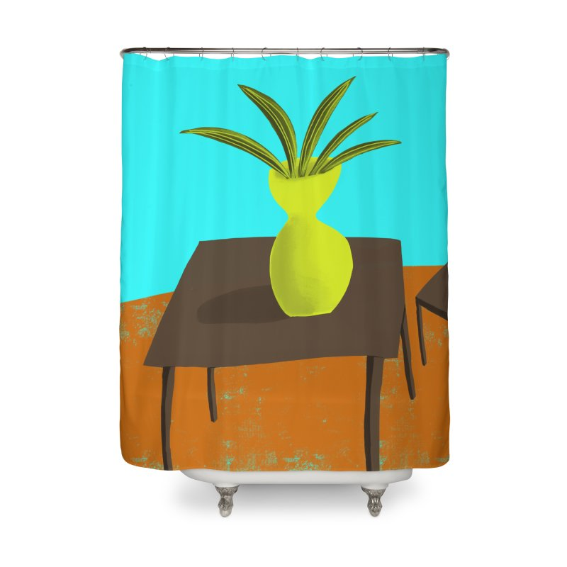 Yellow Vase in Shower Curtain by Michael Pfleghaar