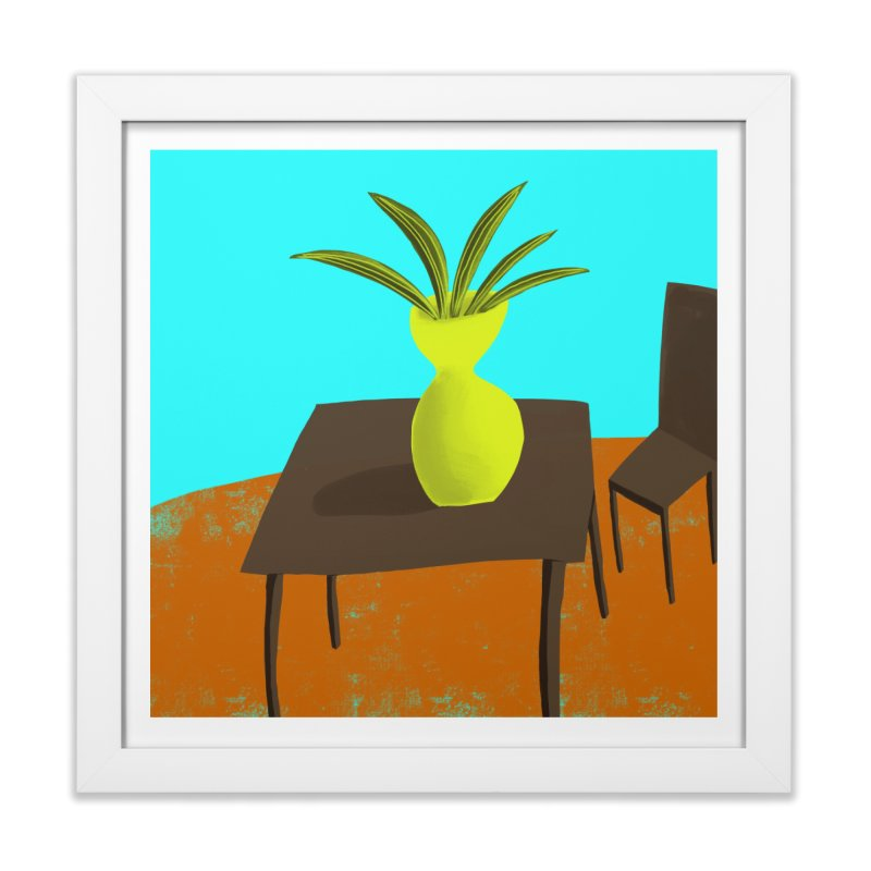 Yellow Vase in Framed Fine Art Print White by Michael Pfleghaar