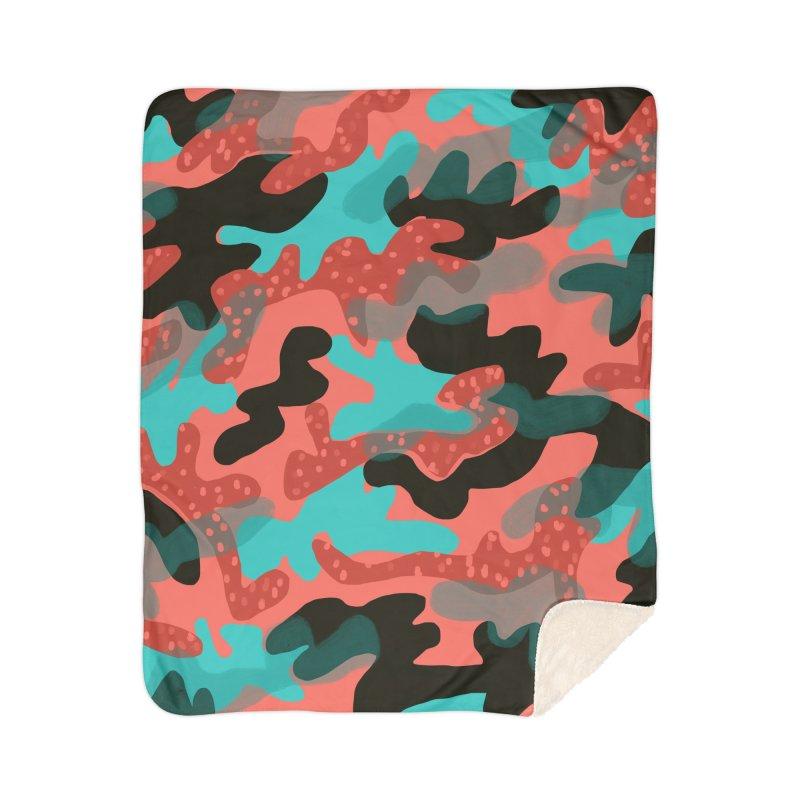 Coral Camouflage 1 Home Sherpa Blanket Blanket by Michael Pfleghaar