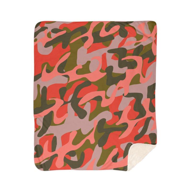 Coral Camouflage 2 Home Sherpa Blanket Blanket by Michael Pfleghaar