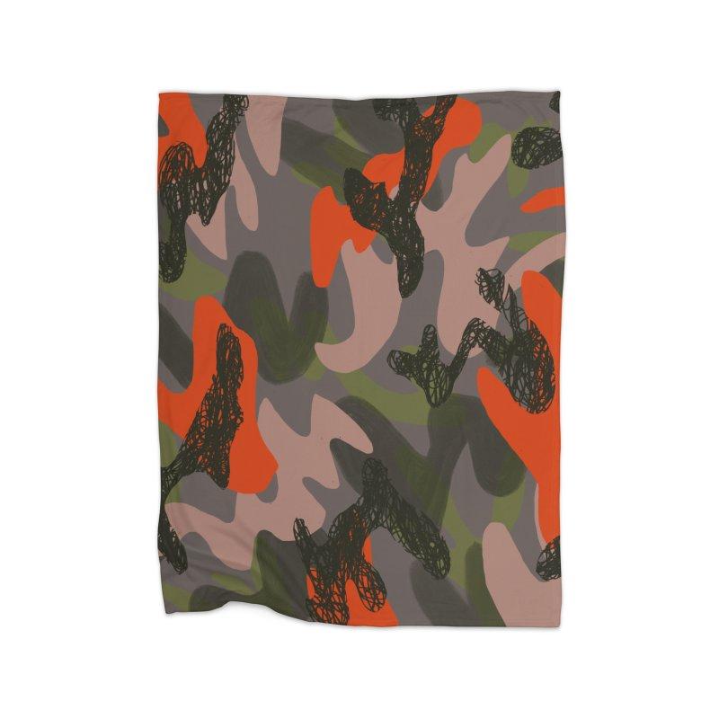 Camouflage 3 Home Blanket by Michael Pfleghaar