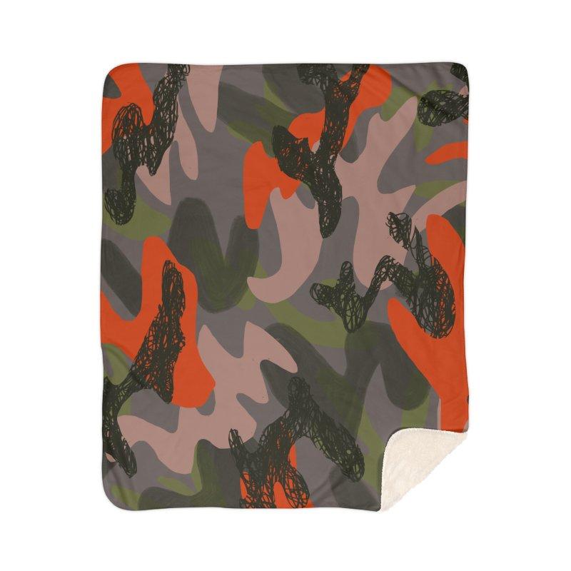 Camouflage 3 Home Sherpa Blanket Blanket by Michael Pfleghaar