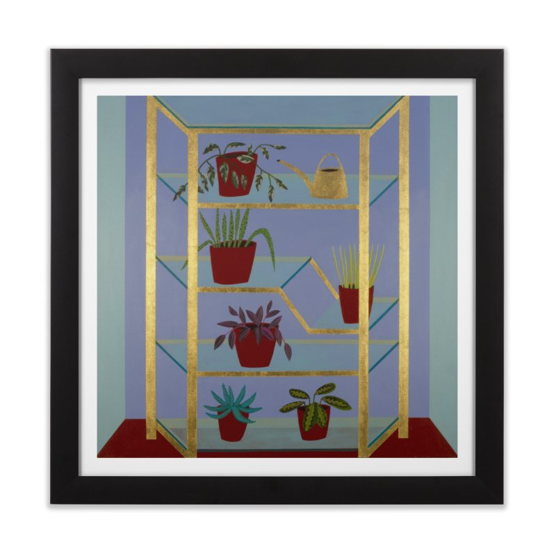 Brass and Glass Plant Stand 1 in Framed Fine Art Print Black by Michael Pfleghaar