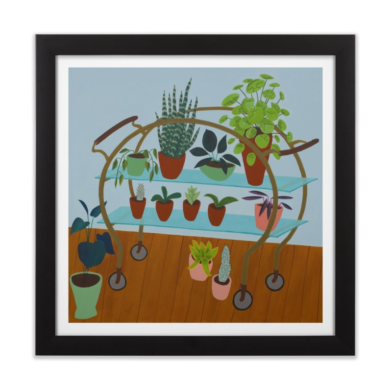 Brass and Glass Plant Stand 2 in Framed Fine Art Print Black by Michael Pfleghaar