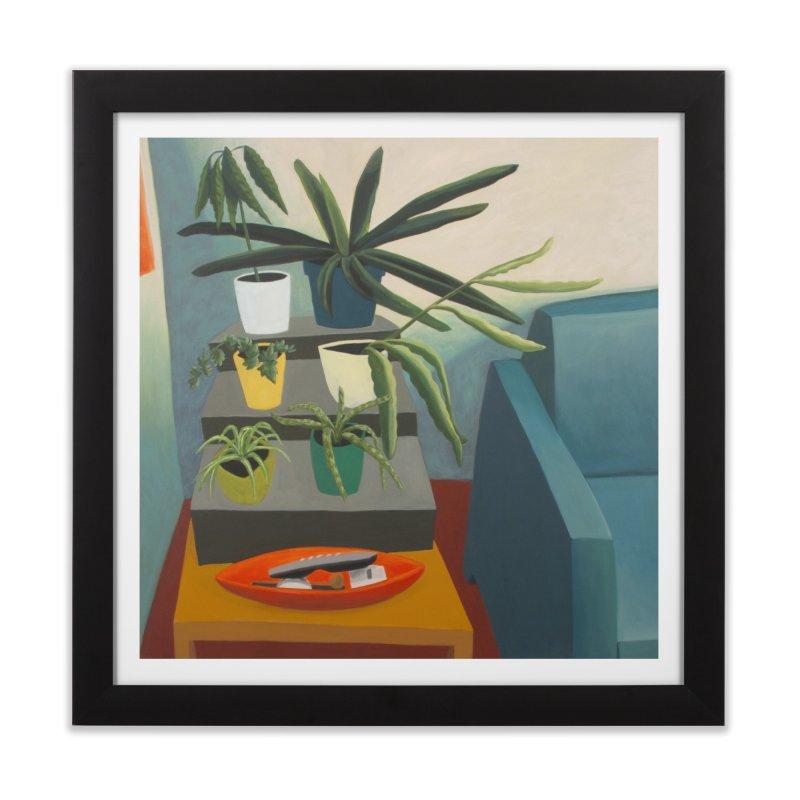 Plant Stand 2 in Framed Fine Art Print Black by Michael Pfleghaar