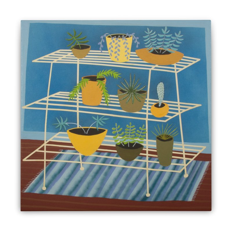 Plant Stand 3 Home Stretched Canvas by Michael Pfleghaar