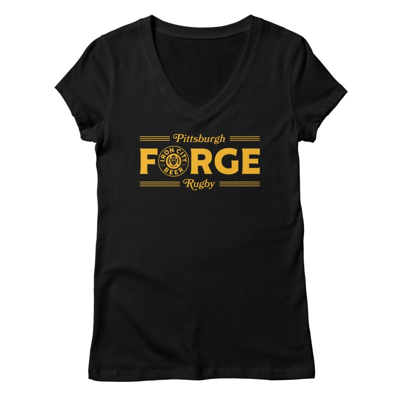 Forged With Iron - Gold Logo Women's V-Neck by Forge Foundry