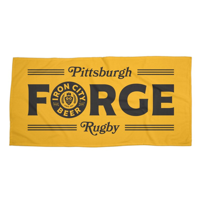 Forged With Iron - Black Logo Accessories Beach Towel by Forge Foundry