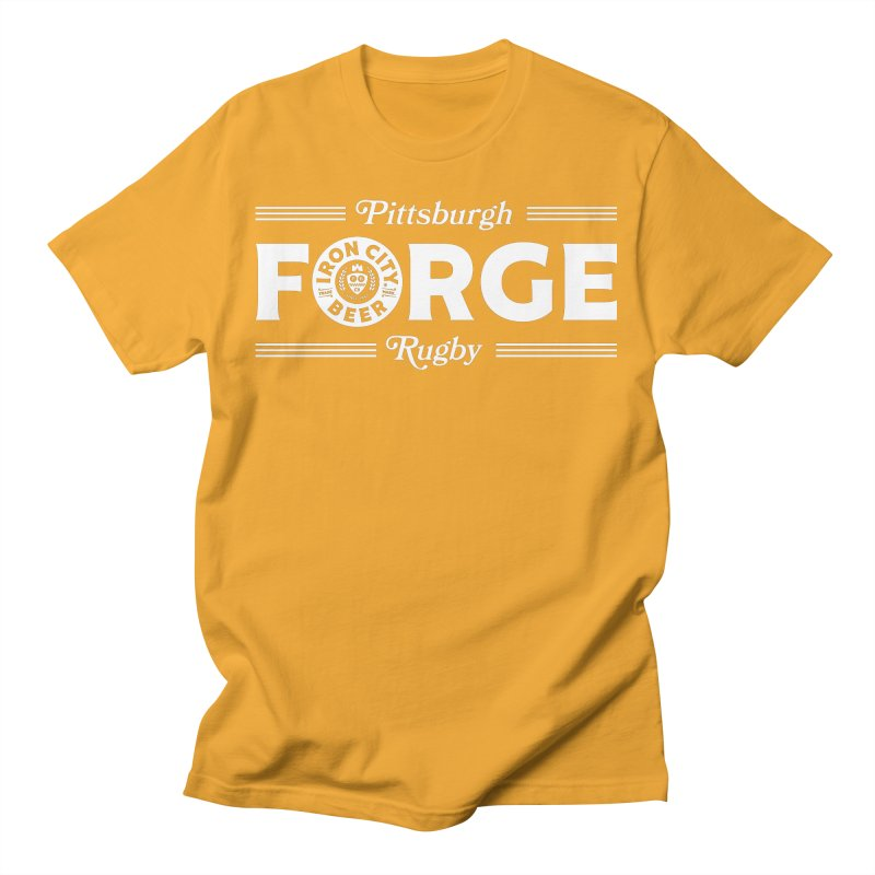 Forged With Iron - White Logo Men's T-Shirt by Forge Foundry