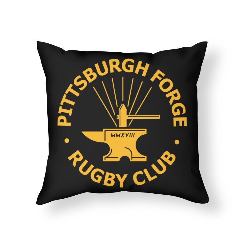 Forge Anvil - Gold Logo Home Throw Pillow by Forge Foundry