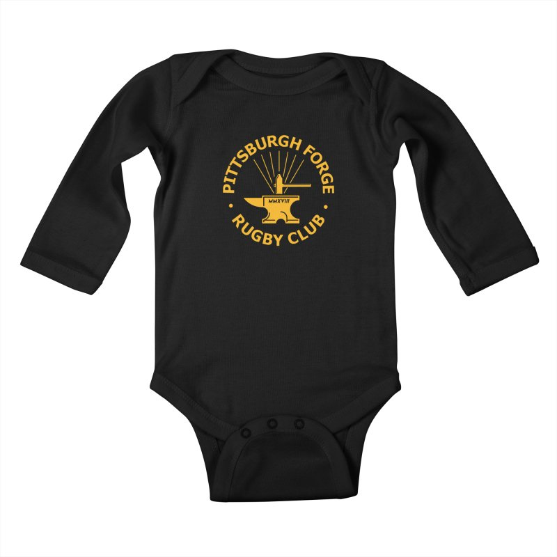 Forge Anvil - Gold Logo Kids Baby Longsleeve Bodysuit by Forge Foundry