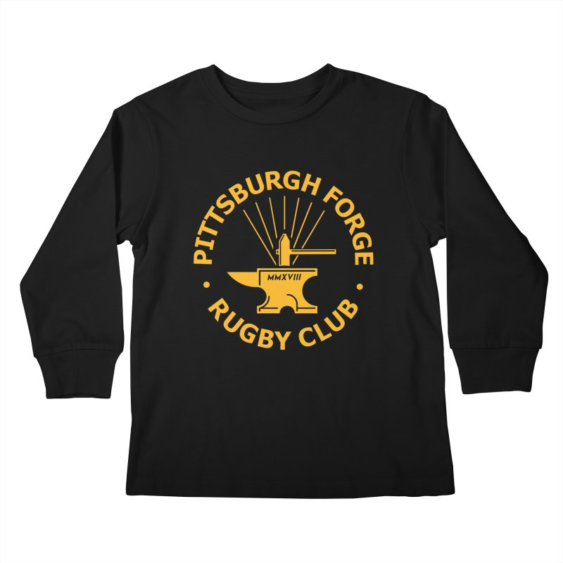 Forge Anvil - Gold Logo Kids Longsleeve T-Shirt by Forge Foundry