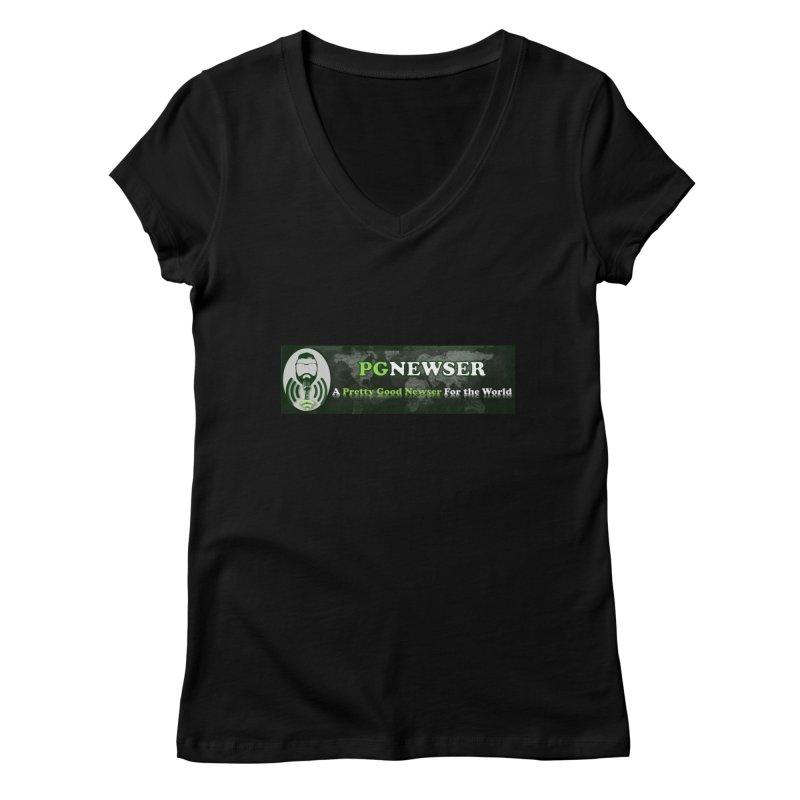 PG Newser Label Women's V-Neck by PGMercher  - A Pretty Good Merch Shop