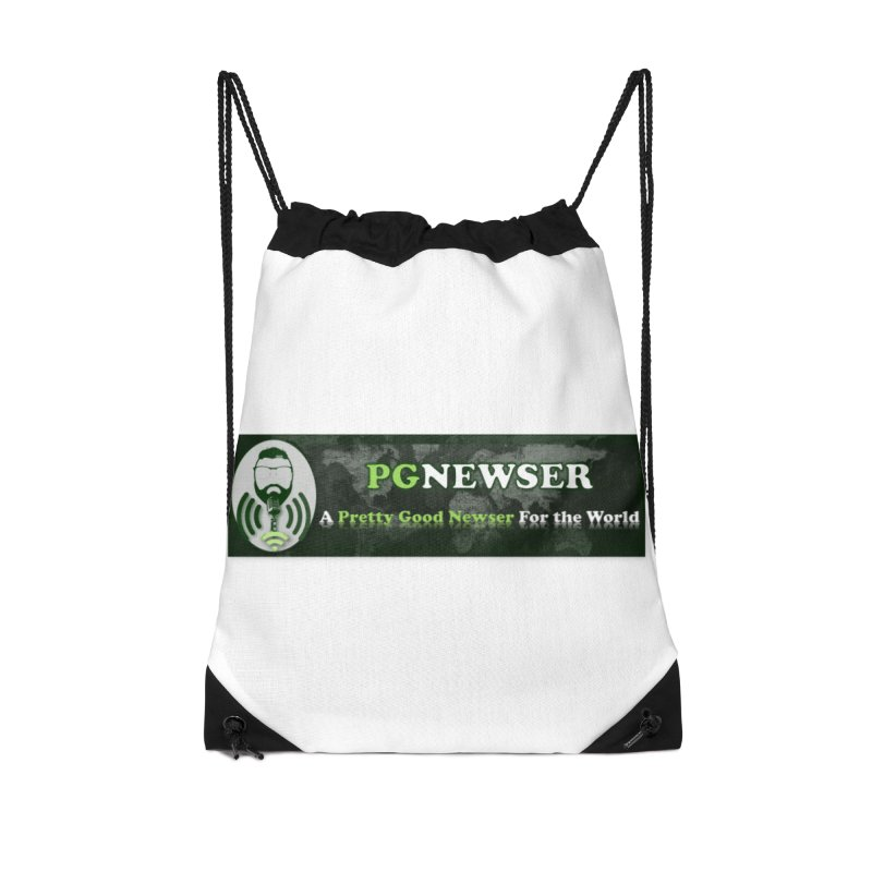 PG Newser Label Accessories Drawstring Bag Bag by PGMercher  - A Pretty Good Merch Shop