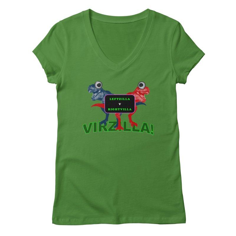 Virzilla Women's V-Neck by PGMercher  - A Pretty Good Merch Shop