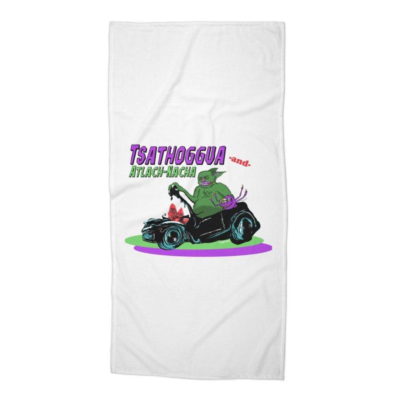 Tsathoggua & Atlach-Nacha Accessories Beach Towel by pgttcm's Artist Shop
