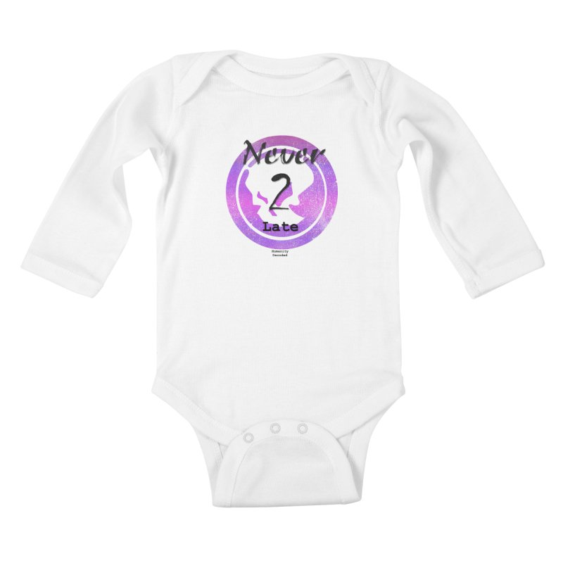 Phantom Never 2 late (black on white) Kids Baby Longsleeve Bodysuit by phantom's Artist Shop