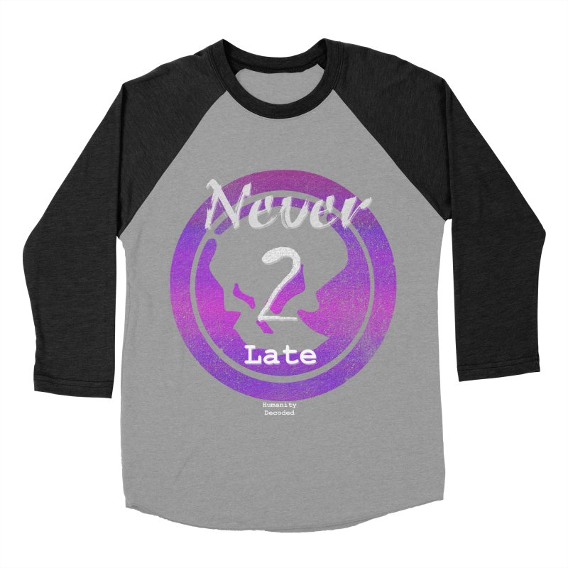 Phantom Never 2 late (white on black) Men's Baseball Triblend T-Shirt by phantom's Artist Shop