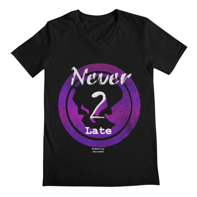Phantom Never 2 late (white on black) Men's Regular V-Neck by phantom's Artist Shop