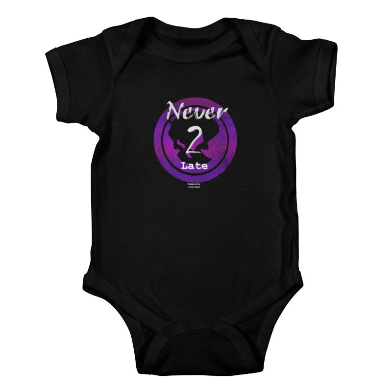 Phantom Never 2 late (white on black) Kids Baby Bodysuit by phantom's Artist Shop