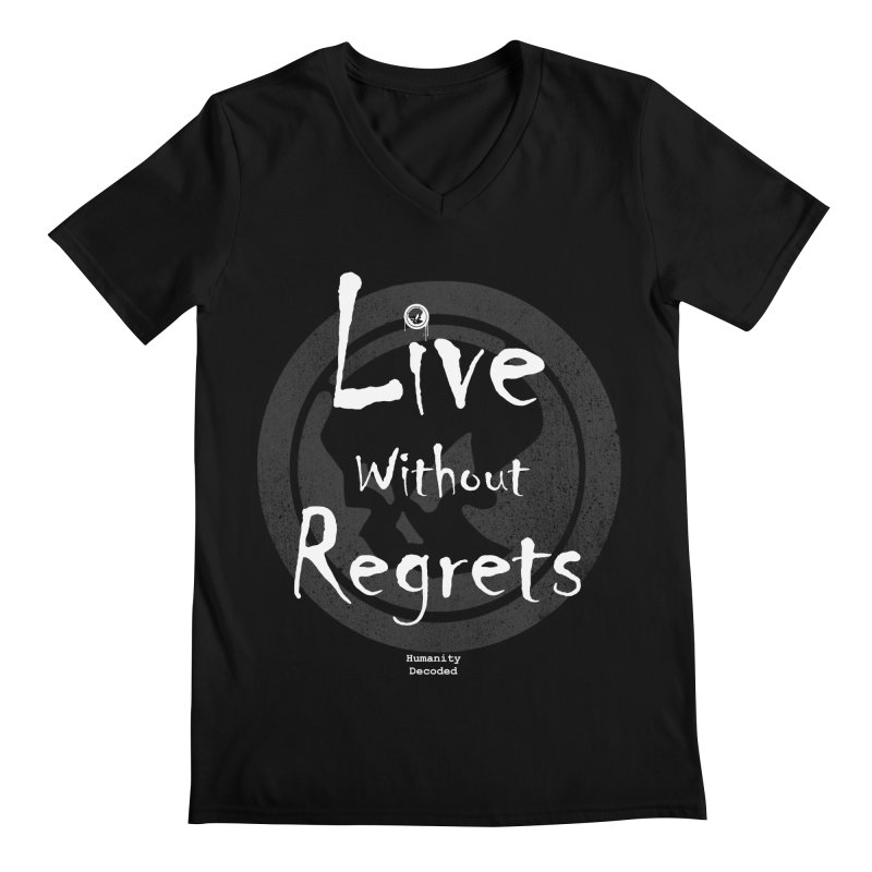 Phantom Live Without Regrets (white on black) Men's V-Neck by phantom's Artist Shop