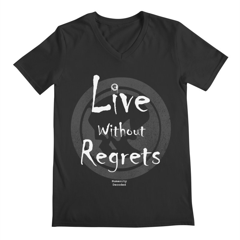 Phantom Live Without Regrets (white on black) Men's Regular V-Neck by phantom's Artist Shop