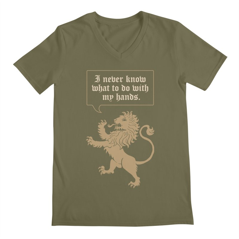 Lion Rampant Problems Men's Regular V-Neck by Phildesignart