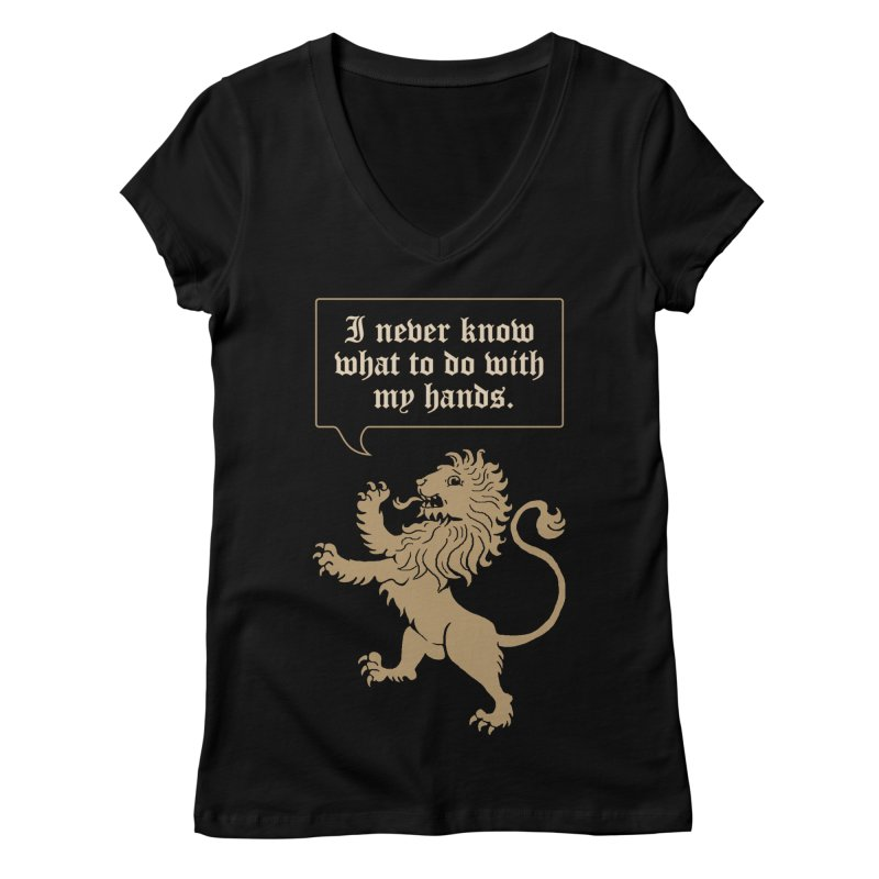 Lion Rampant Problems Women's Regular V-Neck by Phildesignart