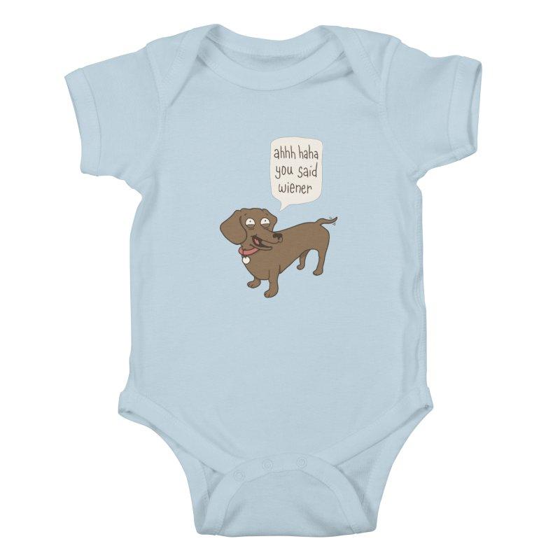 Immature Dachshund Kids Baby Bodysuit by Phildesignart